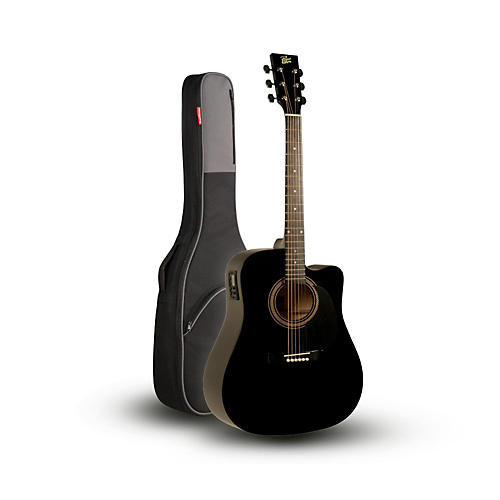 Rogue RA-090 Dreadnought Cutaway Acoustic-Electric Guitar, Black with Road Runner RR1AG Gig Bag-thumbnail