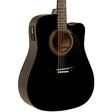Rogue RA-090 Dreadnought Cutaway Acoustic-Electric Guitar Black