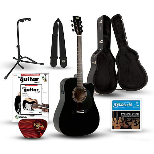 Rogue RA-090 Dreadnought Cutaway Acoustic-Electric Guitar Deluxe Bundle-thumbnail