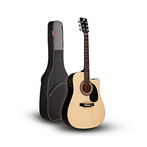 Rogue RA-090 Dreadnought Cutaway Acoustic-Electric Guitar, Natural with Road Runner RR1AG Gig Bag-thumbnail