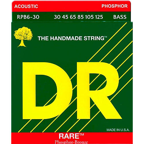 DR Strings RARE Phosphor Bronze 6-String Bass Strings Medium (30-125)-thumbnail