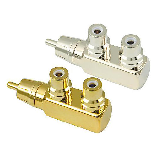 American Recorder Technologies RCA Male to 2 RCA Female Right Angle Adapter Gold