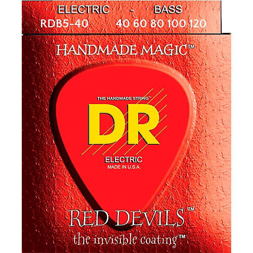 DR Strings RED DEVILS  Red Coated Lite 5-String Bass Strings (40-120)-thumbnail