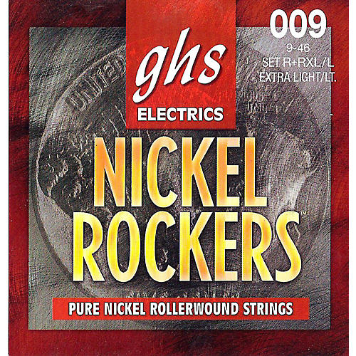 GHS R+RXL/L Nickel Rockers Roundwound Extra Light/Light Electric Guitar Strings-thumbnail