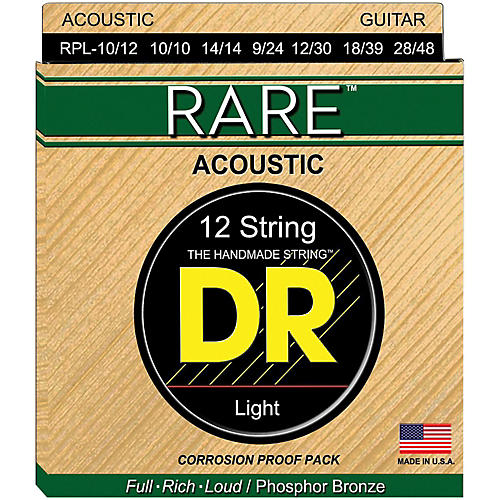 DR Strings Rare Phosphor Bronze Lite 12-String Acoustic Guitar Strings