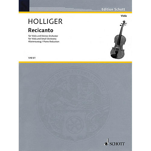 Schott Recicanto (for Viola and Small Orchestra (piano reduction and solo part)) Schott Series-thumbnail
