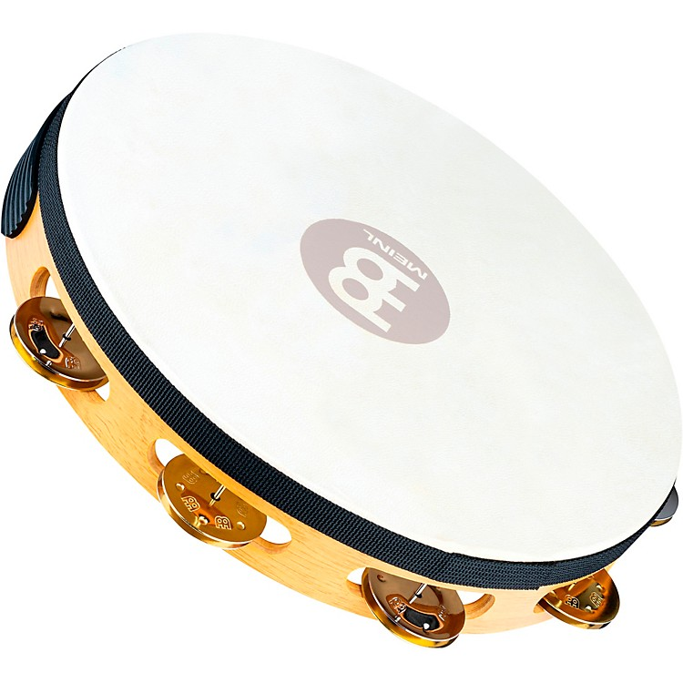 Meinl Recording-Combo Goat-Skin Wood Tambourine One Row Dual Alloy Jingles Super Natural
