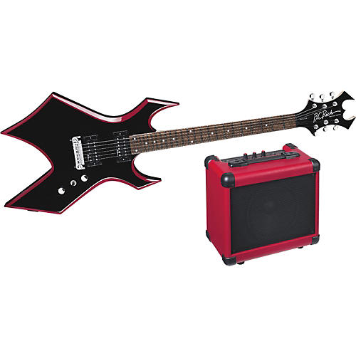 B.C. Rich Red Bevel Warlock Electric Guitar and Amp Pack