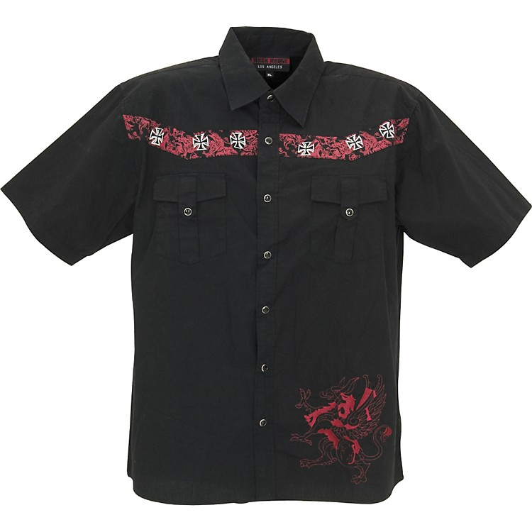 Rock House Los Angeles Red Griffin Short Sleeve Buttoned Shirt