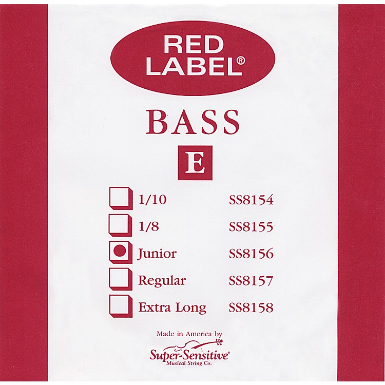 Super Sensitive Red Label 1/4 Size Double Bass Strings 1/4 E String