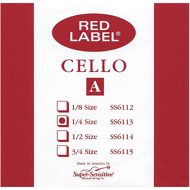 Super Sensitive Red Label Cello A String  1/4