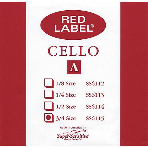 Super Sensitive Red Label Cello A String  3/4