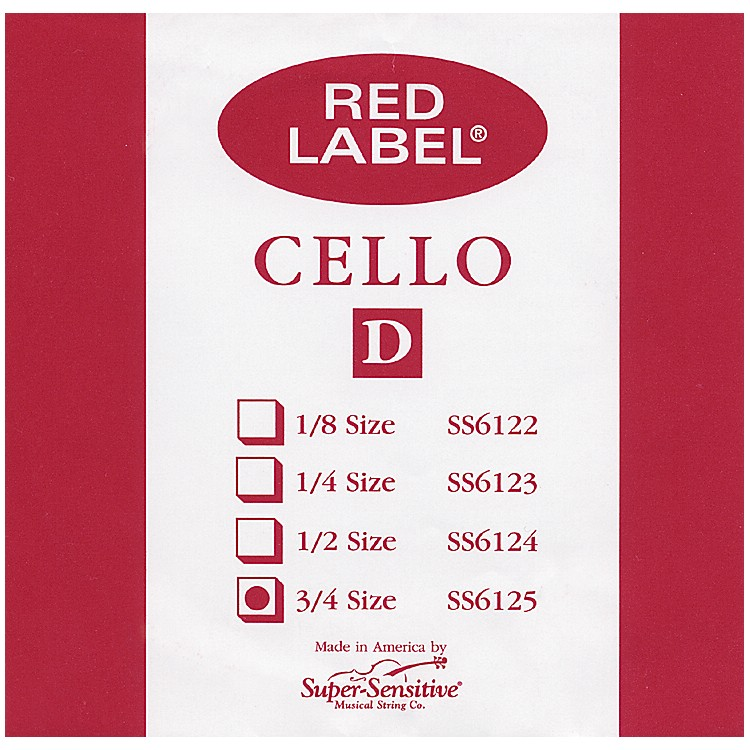 Super Sensitive Red Label Cello D String  3/4