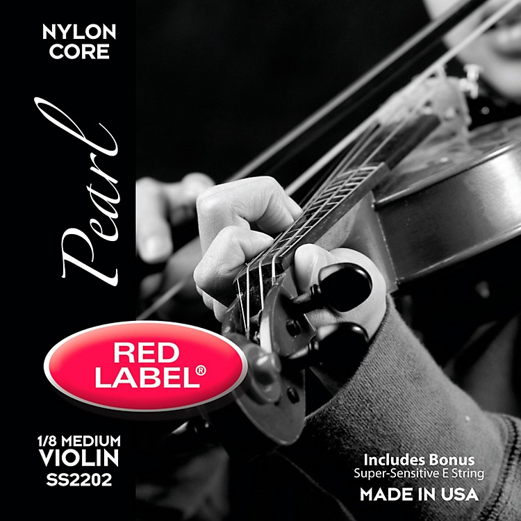 Super Sensitive Red Label Pearl Nylon Core Violin String Set 1/8 Size