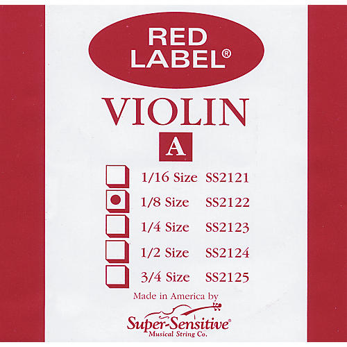 Super Sensitive Red Label Violin A String  1/8