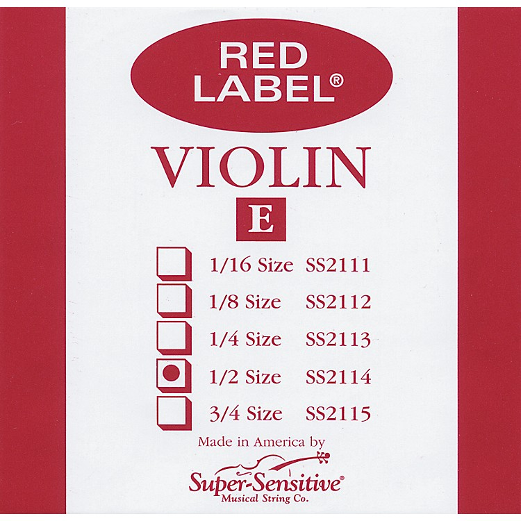 Super Sensitive Red Label Violin E String  1/2
