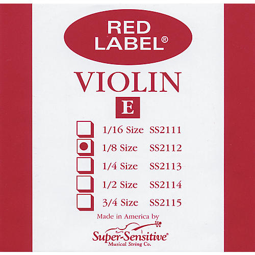 Super Sensitive Red Label Violin E String  1/8