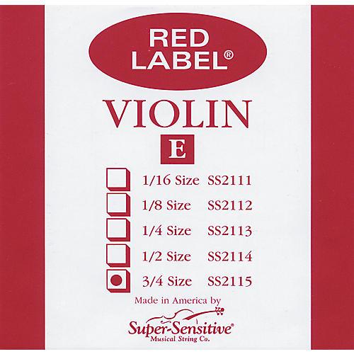 Super Sensitive Red Label Violin E String  3/4