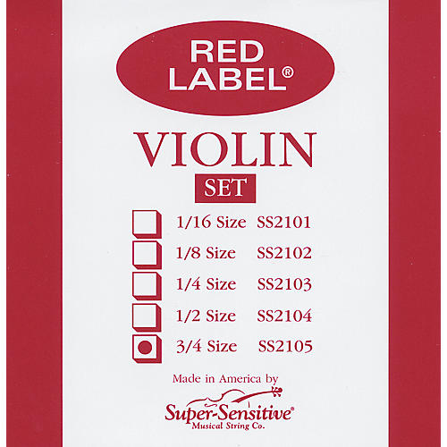 Super Sensitive Red Label Violin String Set  3/4