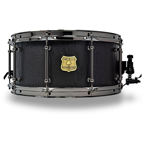 OUTLAW DRUMS Red Oak Stave Snare Drum with Black Chrome Hardware-thumbnail