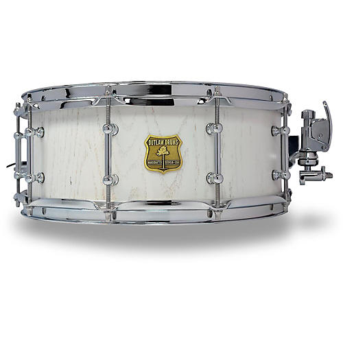 OUTLAW DRUMS Red Oak Stave Snare Drum with Chrome Hardware 14 x 5.5 in. White Wash