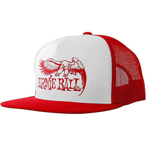 Ernie Ball Red & White Trucker Cap with Ernie Ball Eagle-thumbnail