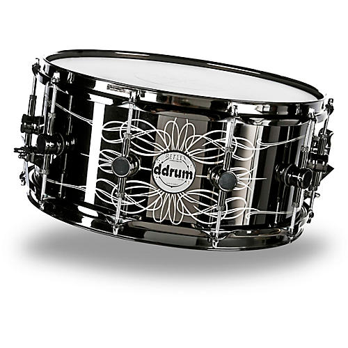 ddrum Reflex Tattooed Lady Engraved Black Steel Snare Drum 6.5 x 14