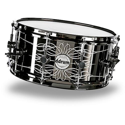 ddrum Reflex Tattooed Lady Engraved Black Steel Snare Drum 6.5x14