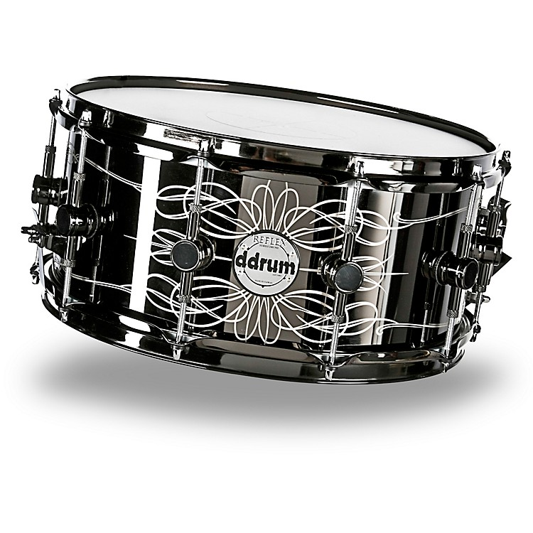 ddrum Reflex Tattooed Lady Engraved Black Steel Snare Drum 6.5x14