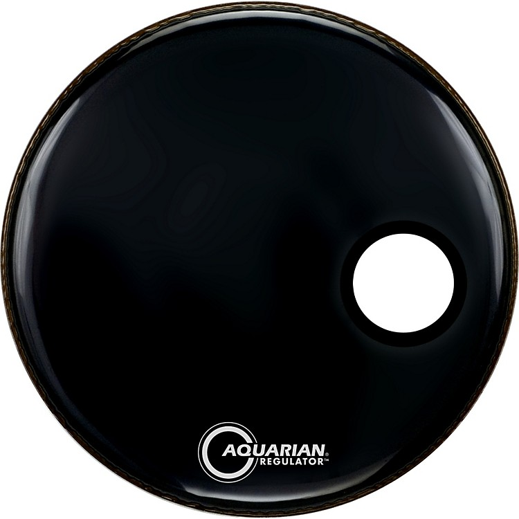 Aquarian Regulator Black Resonant Kick Drumhead Black 20 Inches