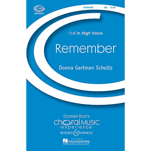 Boosey and Hawkes Remember (CME In High Voice) SSA composed by Donna Gartman Schultz-thumbnail