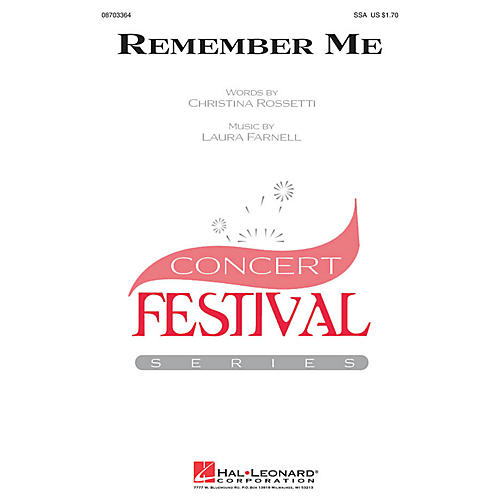 Hal Leonard Remember Me SSA composed by Laura Farnell