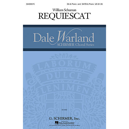 G. Schirmer Requiescat (Dale Warland Choral Series) SSAA composed by William Schuman-thumbnail