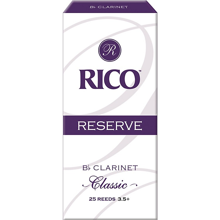 Rico Reserve Classic Bb Clarinet Reeds Box of 25 Strength 3.5+