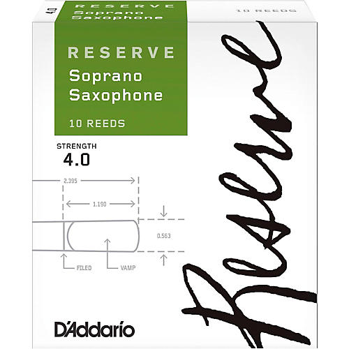 D'Addario Woodwinds Reserve Soprano Saxophone Reeds 10-Pack Strength 4