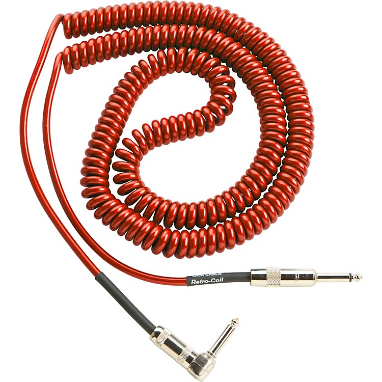 Lava Retro Coil 20 Foot Instrument Cable Straight-Right Angle Assorted Colors Metallic Red