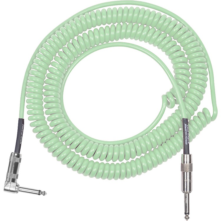 LavaRetro Coil 20 Foot Instrument Cable Straight to Right AngleSurf Green
