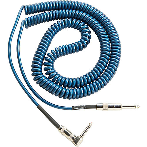 Lava Retro Coil 20-Foot Silent Instrument Cable Straight-Right Angle, Assorted Colors Metallic Blue