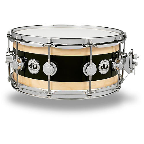 DW Reverse Edge Snare Black Core with Maple Rings and Chrome Hardware 14 x 7 in.