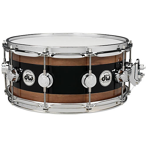 DW Reverse Edge Snare, Black Core with Walnut Rings-thumbnail