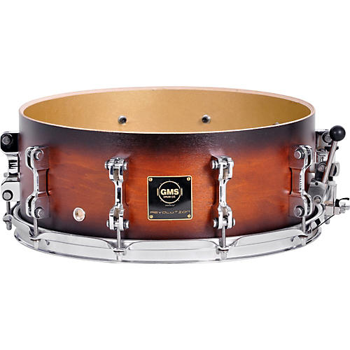 GMS Revolution Maple/Brass Snare Drum 14 x 5.5 Walnut Burst