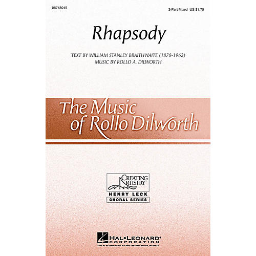 Hal Leonard Rhapsody 3-Part Mixed composed by Rollo Dilworth