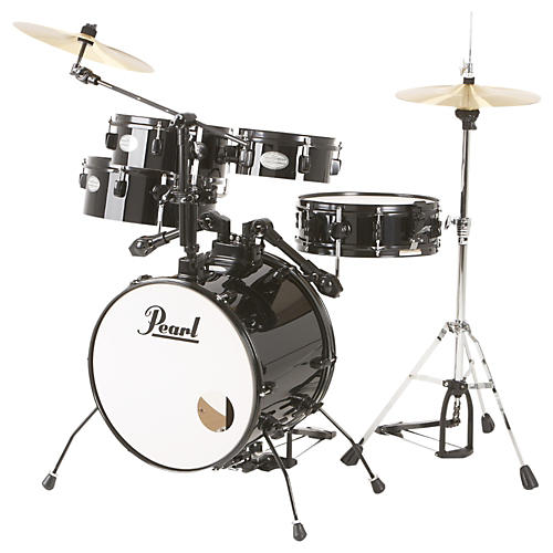 pearl rhythm traveler drum set with cymbals hardware jet black musician 39 s friend. Black Bedroom Furniture Sets. Home Design Ideas