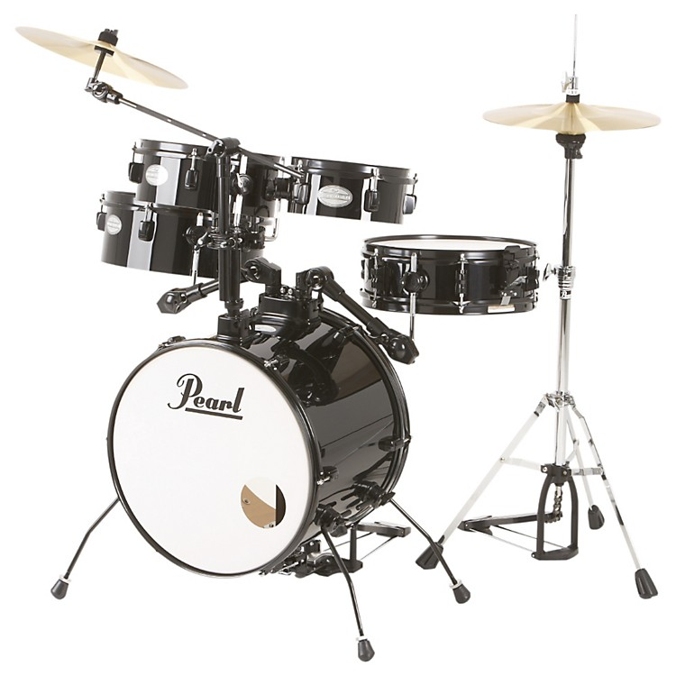 Pearl Rhythm Traveler Drum Set with Cymbals & Hardware Jet Black