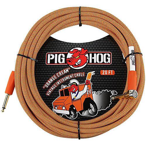 Pig Hog Right Angle Instrument Cable 20 ft. Orange Cream