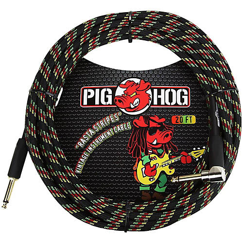 Pig Hog Right Angle Instrument Cable 20 ft. Rasta Stripes