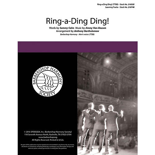 Barbershop Harmony Society Ring-a-Ding Ding TTBB A Cappella arranged by Anthony Bartholomew-thumbnail