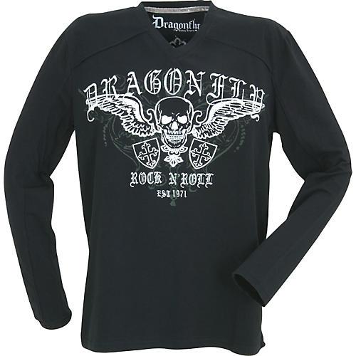Dragonfly Clothing Company Rock N Roll Skull with Crosses Long-Sleeve Men's T-Shirt-thumbnail