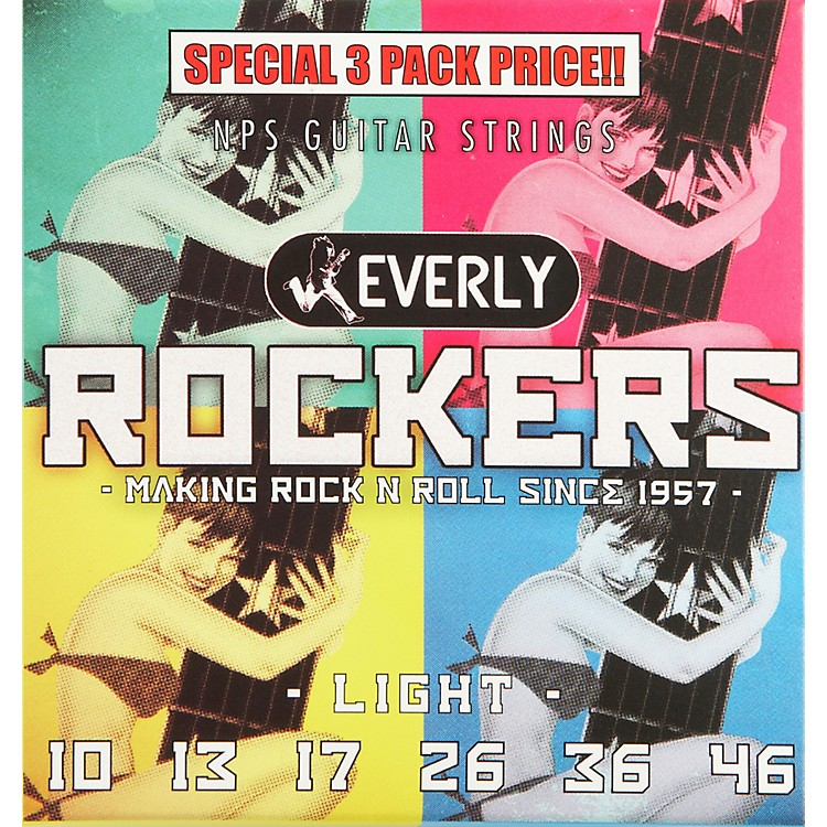 Everly Rockers Electric Guitar Strings Light 3-Pack 10-46
