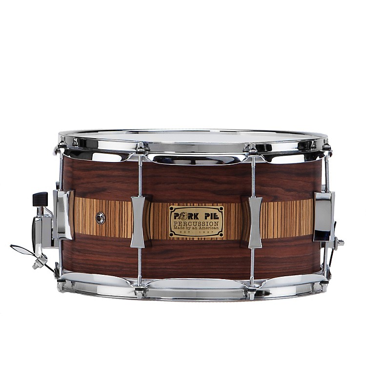Pork Pie Rosewood Zebra Maple Snare Drum Rosewood Zebra 6.5x14